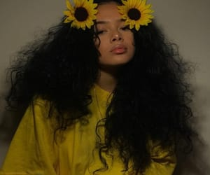 girl, yellow, and sunflower image