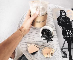coffee, sunglasses, and style image