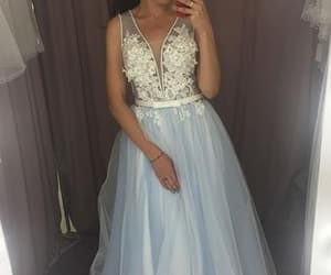 prom dress, light blue dress, and formal occasion dress image