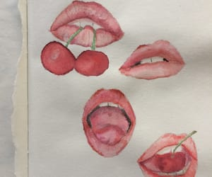cherry, girl, and lips image