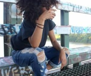 aesthetic, bench, and curly hair image