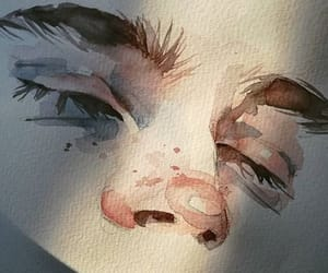 eyes, painting, and watercolor image