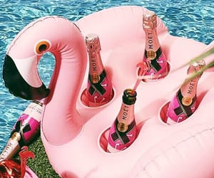 pink, summer, and flamingo image