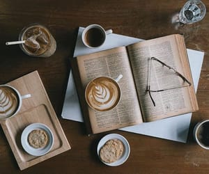 books, breakfast, and cafe image