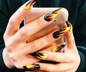 nails, fire, and black image
