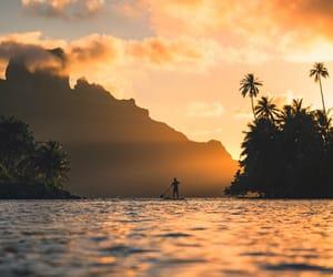 beach, landscape, and sunset image