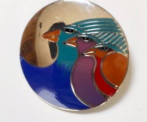 etsy, vintage brooch, and three birds image