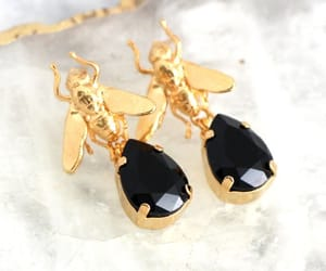 black gold, bridal jewelry, and earrings image