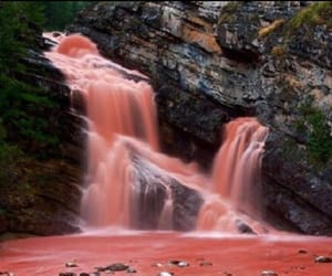red, waterfall, and red grunge image