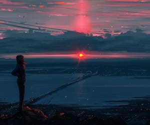 anime, sunset, and dreaming image