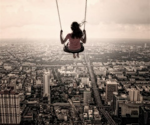 city, swing, and girl image