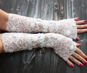 bridal, lace gloves, and long lace gloves image
