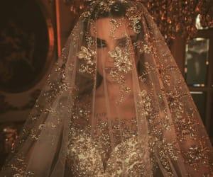 dress, wedding, and crown image