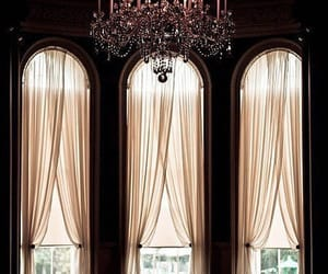 chandelier, interior, and curtains image