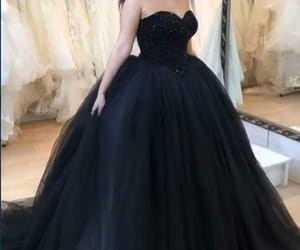 black, dress, and heart image