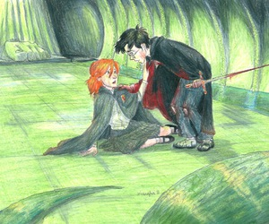 ginny weasley, harry potter, and chamber of secrets image