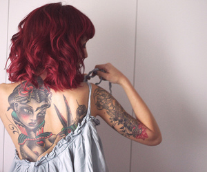 hair, tattoo, and ink image