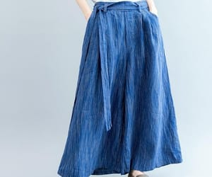 blue pants, wide leg pants, and pants with pockets image