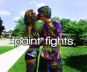 love, couple, and paint fights image