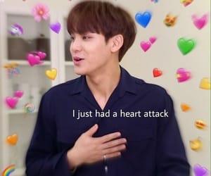 Seventeen, mingyu, and heart meme image