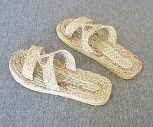 handmade, wicker slippers, and water hyacinth sandals image