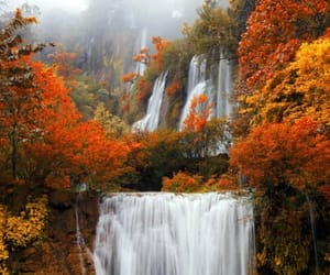 autumn, fall, and waterfall image