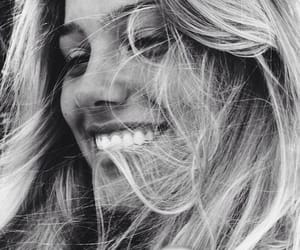 beauty, smile, and black and white image