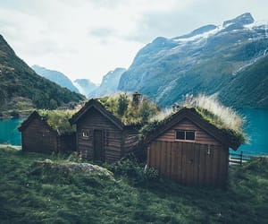 cabin, lake, and mountains image