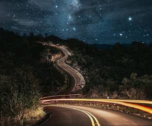 road, stars, and night image