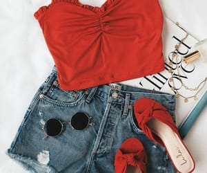 fashion, girls, and red image