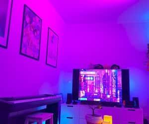 neon lights, pink and purple, and purple neon image