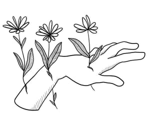 black, flower, and hand image
