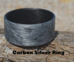 carbon fiber rings, carbon silver ring, and finger carbon ring image