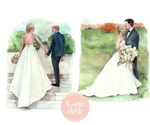 bride, sketch, and watercolor image