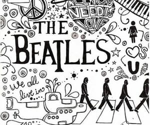 drawing, music, and the beatles image