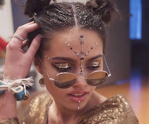 glitter, hairstyle, and space buns image