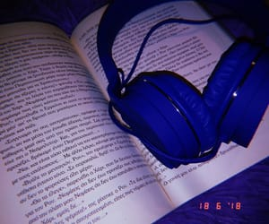 aesthetic, headphones, and blue image