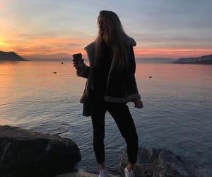 alone, girl, and sea image