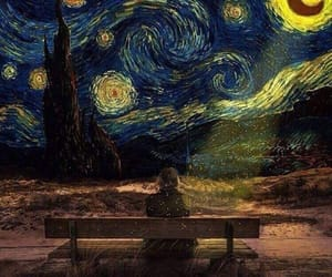art, night, and starry night image