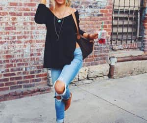 fashion, jeans, and glasses image
