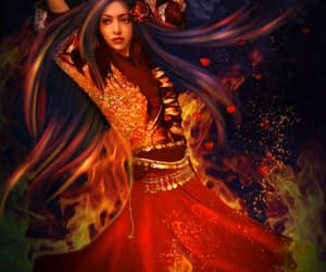 fire dancer and prismatic hair red dress image
