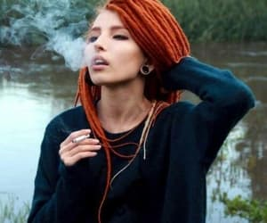 smoke, girl, and dreads image