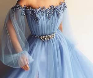 dress, blue, and beauty image
