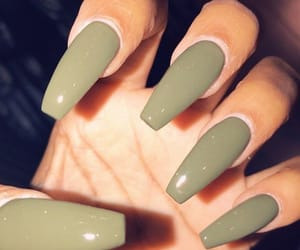 nails, acrylic, and green image