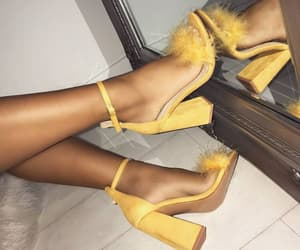 yellow, heels, and mirror image