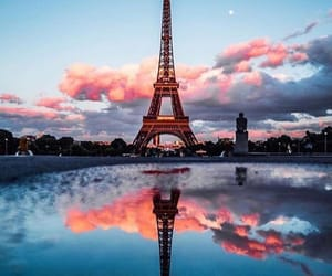 eiffel tower, lake, and france image
