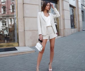 blazer, fashion inspiration, and shorts image
