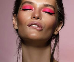 brunette, eyes, and pink aesthetic image