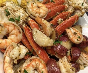 food, seafood, and crab legs image