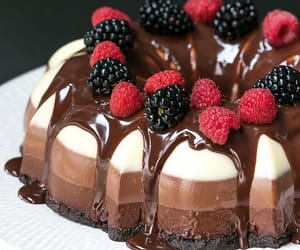 cake, chocolate, and fruit image
